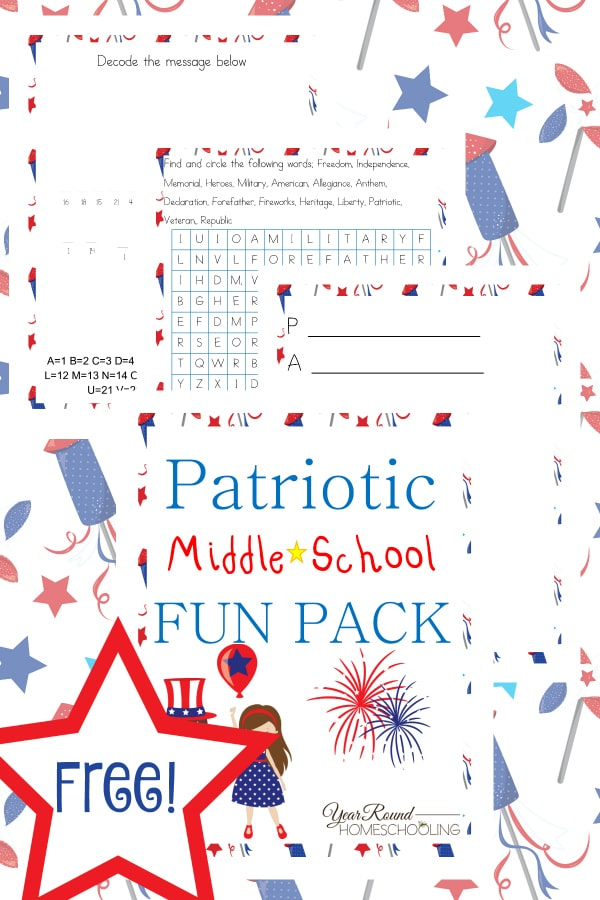 Fun Printable Worksheets For Middle School : Free patriotic middle school fun pack year round