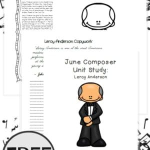 Learn more about a famous Modern Era composer, Leroy Anderson, in this month's composer unit study. Includes coloring pages, notebooking pages and more! :: www.yearroundhomeschooling.com