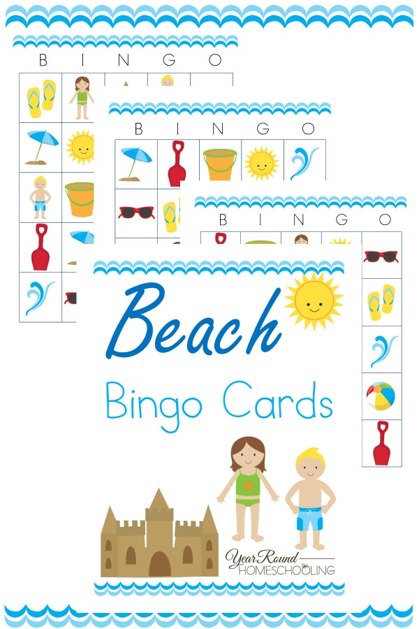beach bingo cards, beach themed bingo cards, bingo cards, beach bingo, beach, bingo, printable, bingo games, homeschool, homeschooling