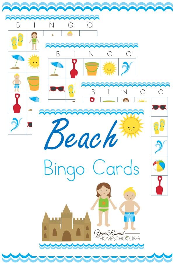 beach bingo cards, beach themed bingo cards, bingo cards, beach bingo, beach, bingo, printable, bingo games, homeschool, homeschooling