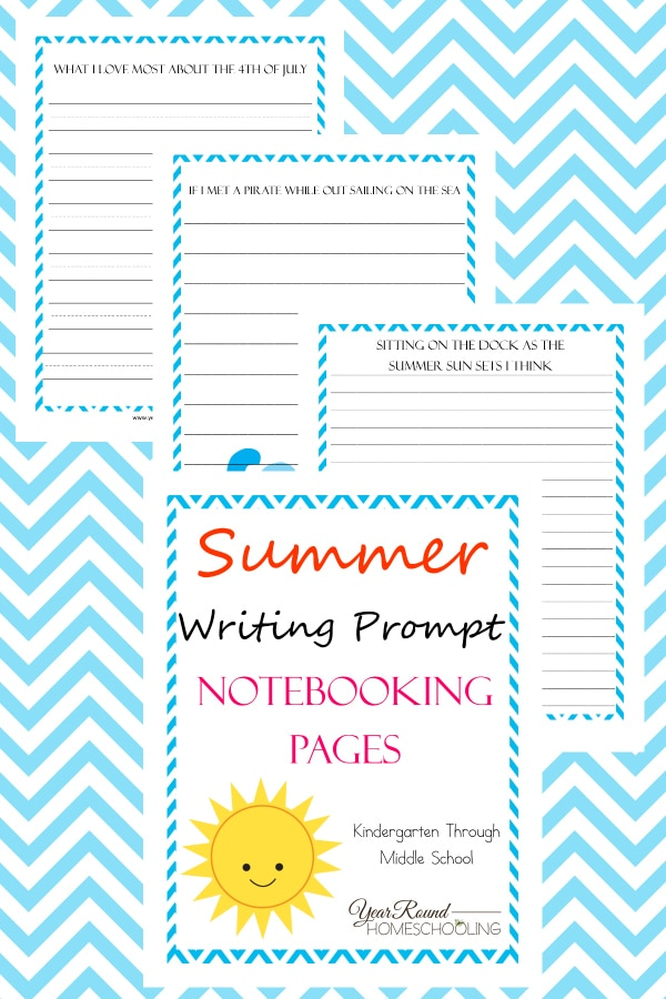 Summer Writing Prompts Notebooking Pages