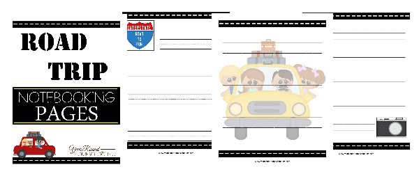 road trip notebooking pages, road trip notebooking, road trip printables, notebooking pages, notebooking,writing, homeschool, homeschooling, worksheets, printable