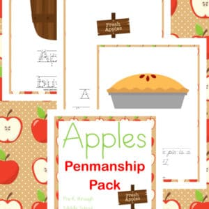 apples penmanship, apples, penmanship, prek, preschool, kindergarten, elementary, middle school