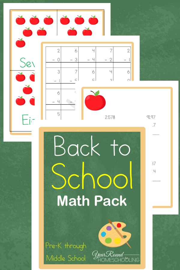 Back to School Math Pack (PreK-Middle School)