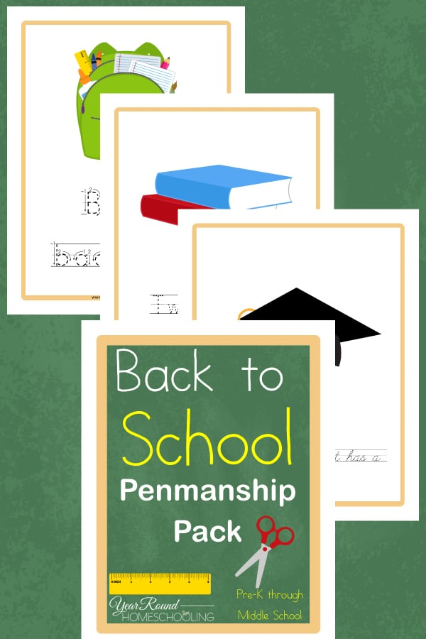 Back to School Penmanship Pack (PreK-Middle School)