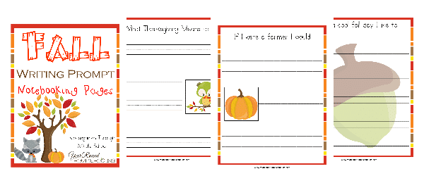 Fall writing prompt notebooking pages year round homeschooling ccuart Image collections