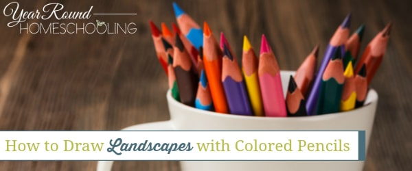 draw landscapes with colored pencils, draw landscapes, landscapes with colored pencils