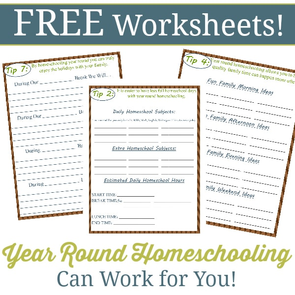 Year Round Homeschooling Worksheets