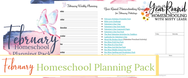 february homeschool planning pack, february homeschool planning