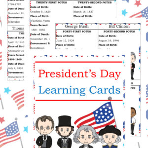 President's Day learning cards, President's Day learning, President's Day