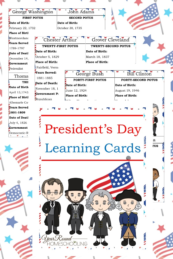 President's Day Learning Cards