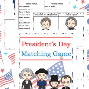 President's Day matching game, President's Day learning, President's Day