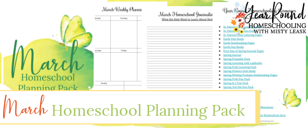 march homeschool planning pack, march homeschool planning