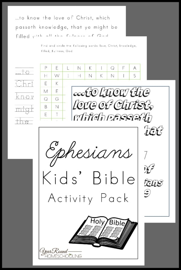Ephesians Activity Pack for Kids, Ephesians Activity Pack