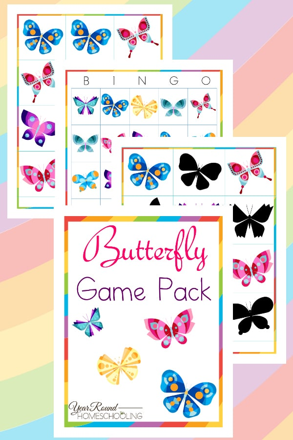 butterfly game pack, butterfly matching game, butterfly tic tac toe, butterfly bingo, butterfly games, butterfly game