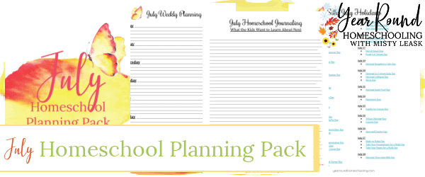 july homeschool planning pack, homeschool planning pack july, july homeschool planning, homeschool planning july