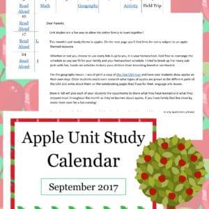apple unit study calendar, apple themed homeschool calendar, apple theme calendar, apple calendar, apple unit study