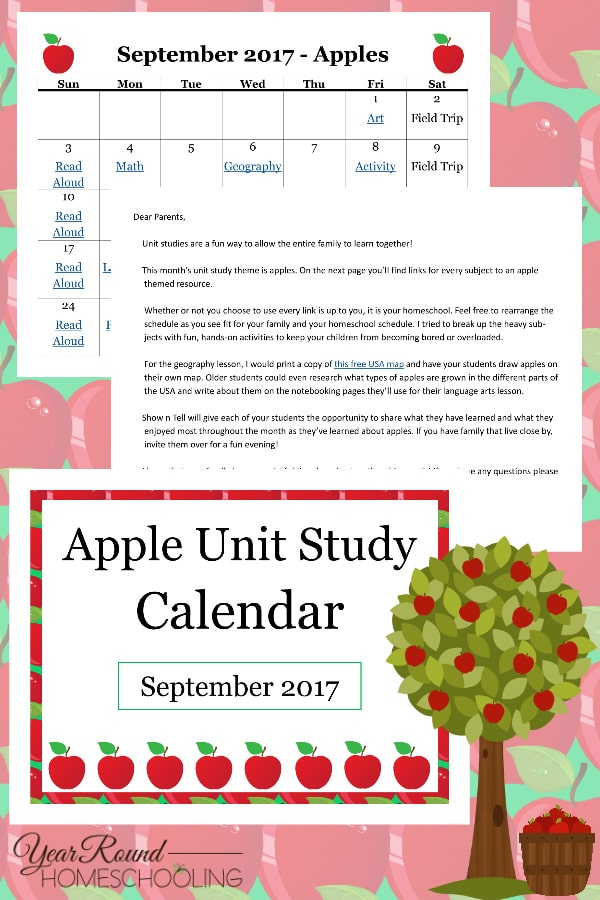 apple unit study calendar, apple themed homeschool calendar, apple theme calendar, apple calendar, apple unit study
