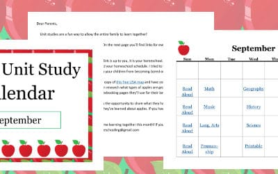 Apple Unit Study Calendar