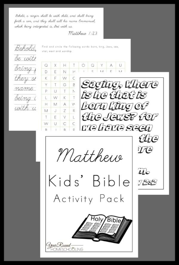 matthew kids bible activity pack, matthew bible kids activity, matthew bible, matthew kids activity