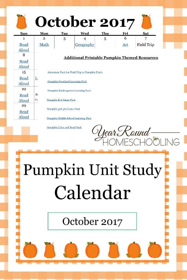 Pumpkin Unit Study Calendar - Year Round Homeschooling