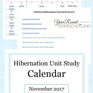 hibernation unit study calendar, hibernation unit study, hibernation