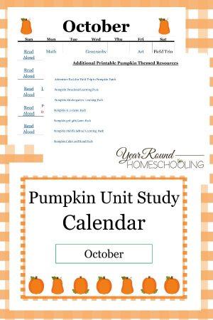 Pumpkin Unit Study Calendar