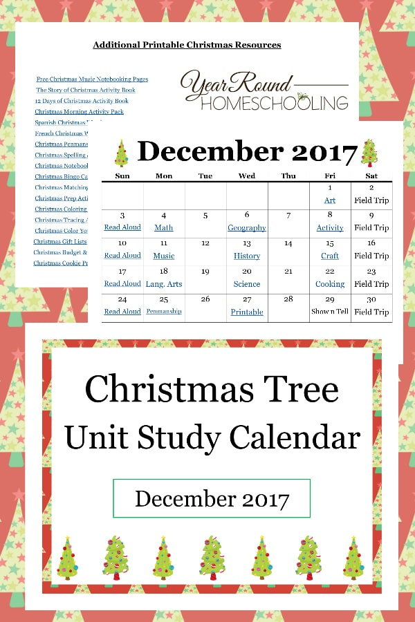 Christmas tree unit study calendar, Christmas tree unit study, Christmas tree
