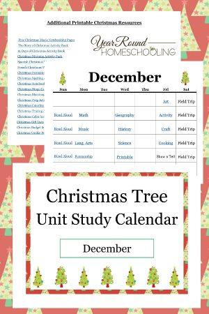 Christmas Unit Study Calendar