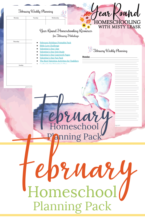 february homeschool planning pack, february homeschool planning