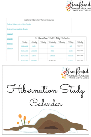 Hibernation Unit Study Calendar