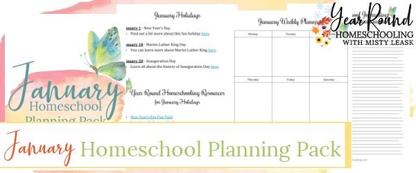 january homeschool planning pack, january homeschool planning