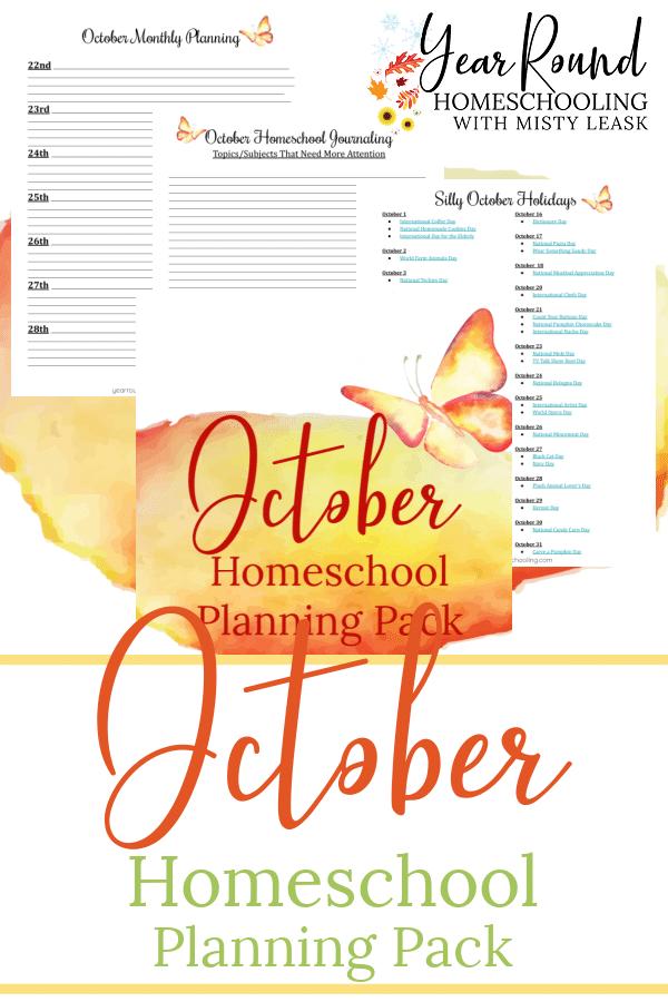 october homeschool planning pack, homeschool planning pack october, october homeschool planning, homeschool planning october