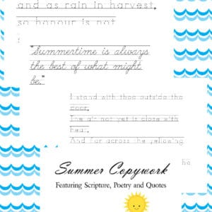 summer copywork, summer penmanship, summer handwriting