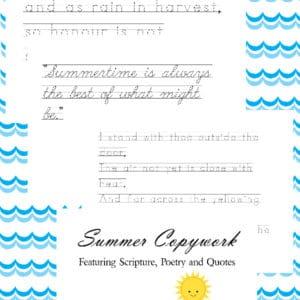 summer copywork, summer penmanship, summer handwriting