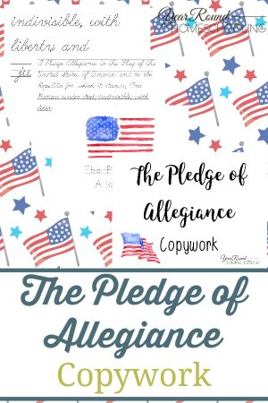 The Pledge of Allegiance Copywork