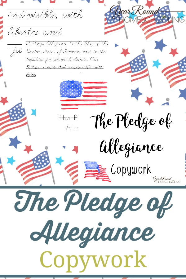 pledge of allegiance copywork, pledge of allegiance penmanship, pledge of allegiance