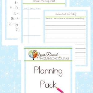 january homeschool planning pack, january homeschool planning