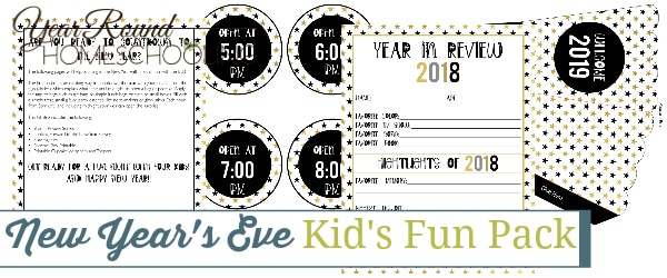 New Year's Eve Kids Fun Pack, New Year's Eve Kids Fun, New Year's Eve Kids, New Year's Eve