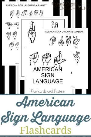 American Sign Language Flashcards Pack
