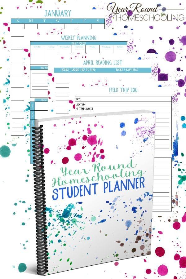 year round homeschooling student planner, year round homeschool student planner, student planner, homeschool student planner, planner