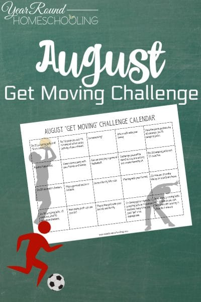 August Get Moving Challenge Calendar