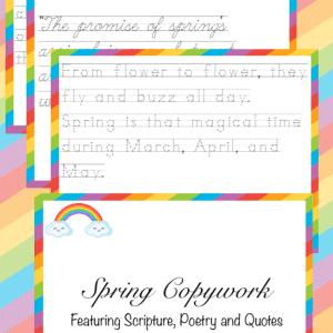 spring copywork, spring poetry copywork, spring scripture copywork, spring quote copywork, copywork, spring