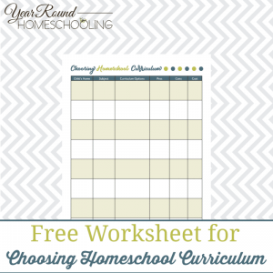 Choosing Curriculum Worksheet Printable