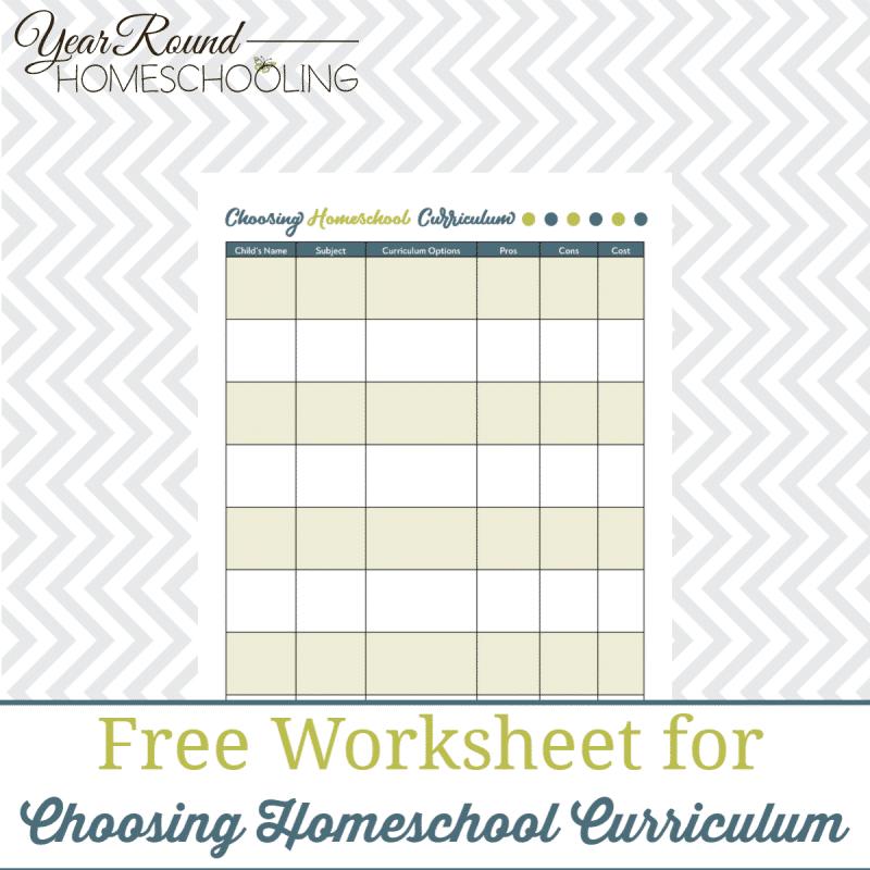 Choosing Curriculum Worksheet Printable - Year Round ...