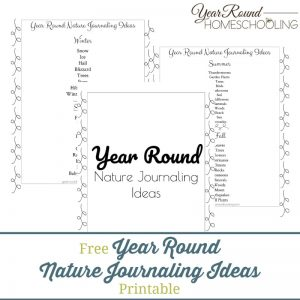 Year Round Nature Journaling Ideas Printable