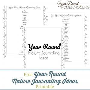 Year Round Nature Journaling Ideas Printable