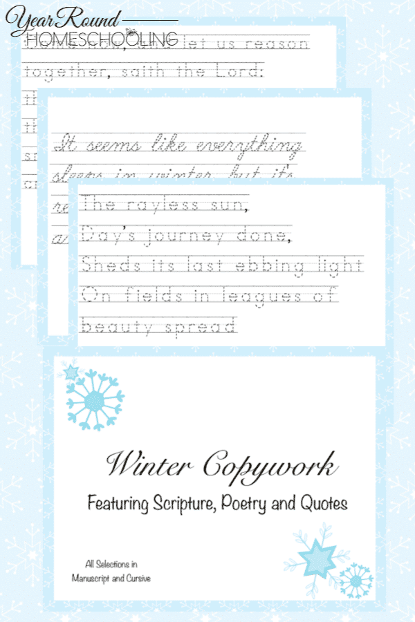 winter copywork, winter poetry copywork, winter scripture copywork, winter quotes copywork, copywork, winter