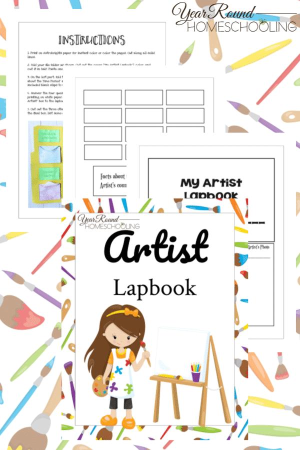artist lapbook, art lapbook, lapbook for art