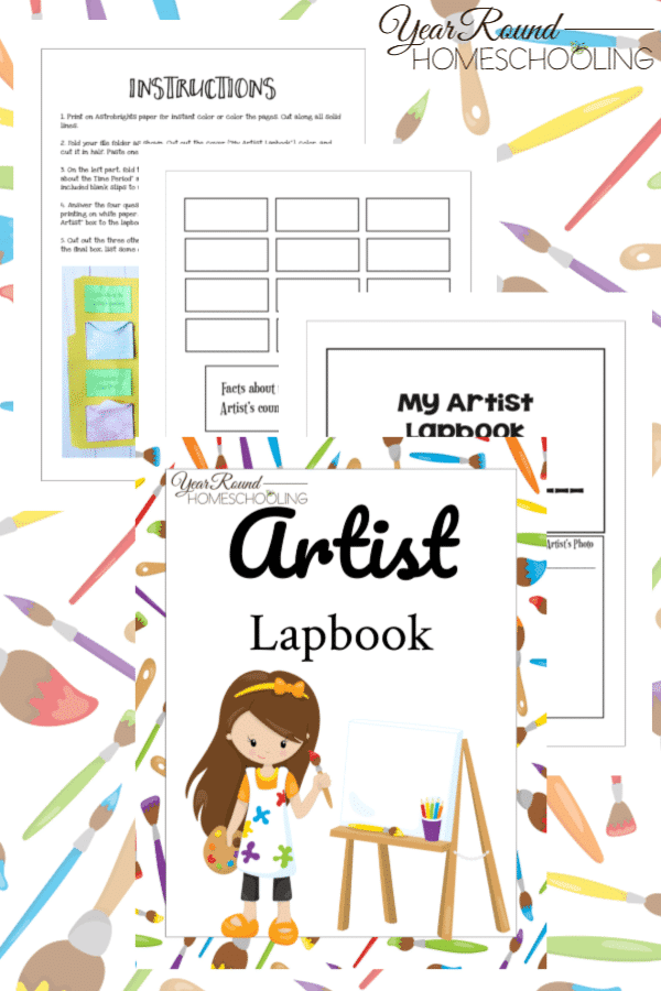 artist lapbook, art lapbook, lapbook for art